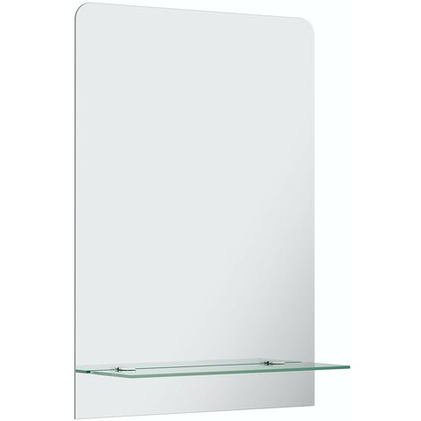 Accents bevelled edge rectangular mirror with vanity shelf 70 x 50cm