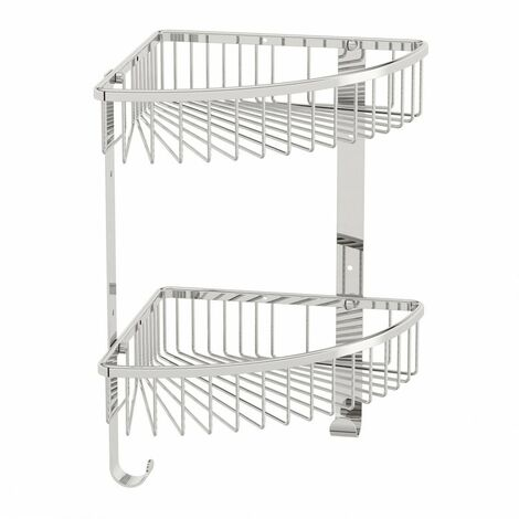 Accents Options brass double triangular shower caddy