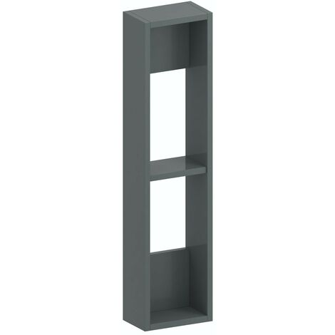 Accents Slimline slate gloss wall hung open storage unit 800 x 200mm