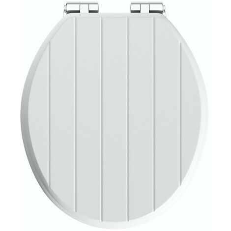 Accents traditional white engineered wood tongue and groove toilet seat with top fixing soft close hinge