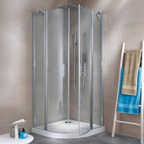 Accès d'ange arrondi avec portes de douche pivotantes, 90 x 90 x 190 cm, verre transparent 5mm, profilé aspect chromé, Reverso, Schulte