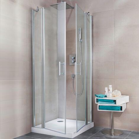 Accès d'ange droit avec portes de douche pivotantes, 90 x 90 x 190 cm, verre transparent 5mm, profilé aspect chromé, Reverso, Schulte