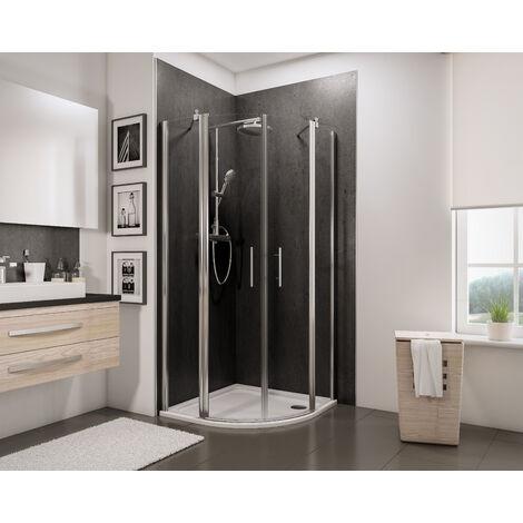Accès d'angle arrondi, portes de douche battantes, verre 5 mm anticalcaire, Style 2.0, Schulte, dimensions et décors au choix