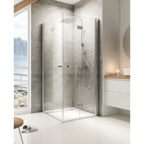 Accès d'angle avec portes de douche pivotantes-pliantes, verre 6 mm anticalcaire, profilé aspect chromé, MasterClass, Schulte, dimensions au choix