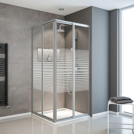 Accès d'angle droit 75-88 x 175 cm, portes de douche coulissantes, décor rayures, profilé alu argenté, Sunny, Schulte