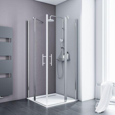 Accès d'angle droit avec portes de douche battantes, verre 5 mm anticalcaire, profilé aspect chromé, Style 2.0, Schulte, 90 x 90 x 192 cm, verre sablé au milieu (dépoli light)