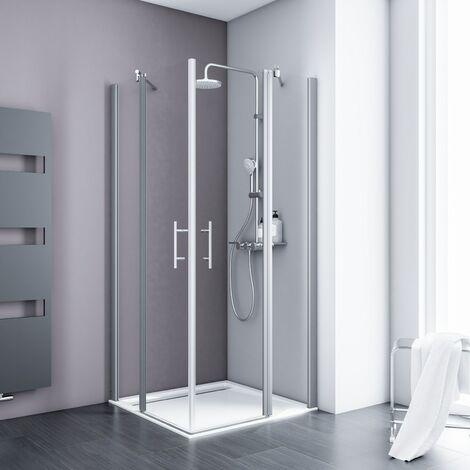 Accès d'angle droit avec portes de douche battantes, verre 5 mm transparent anticalcaire, profilé alu-argenté, Schulte, dimensions et décors au choix