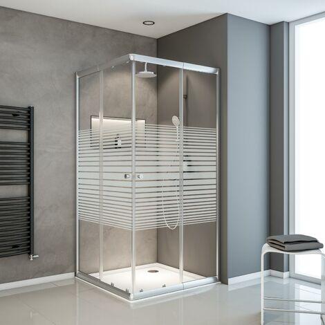 Accès d'angle droit avec portes de douche coulissantes, 80 x 80 - 90 x 90cm x 180 cm,décor rayures, profilé argenté, Sunny, Schulte