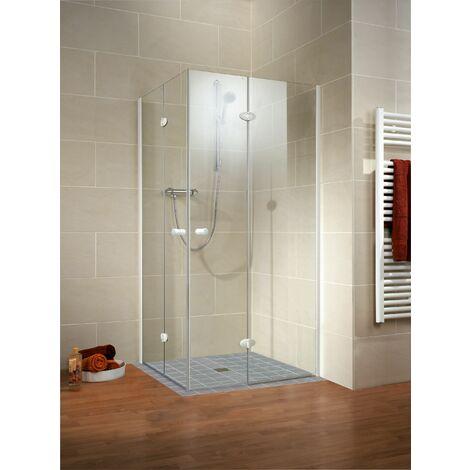 Accès d'angle droit avec portes de douche pivotantes-pliantes, verre 5 mm, profilés blancs, Confort, Schulte, 80 x 80 x 190 cm