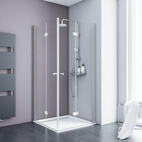Accès d'angle droit avec portes de douche pivotantes-pliantes, verre 5 mm transparent anticalcaire, profilé aspect chromé, Schulte, 80 x 80 x 192 cm