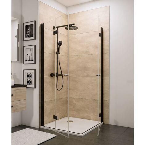 Accès d'angle droit avec portes de douche pivotantes-pliantes, verre 5 mm transparent anticalcaire, profilé noir, style industriel, Schulte, 90 x 90 x192 cm