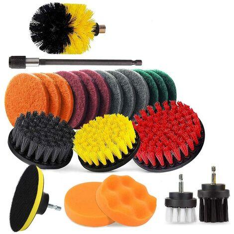 Accesorio de cepillo de taladro eléctrico, cepillo de taladro + kit de limpieza de cepillo de fregado de coche para coche, alfombra, baño 22 piezas (22 piezas)
