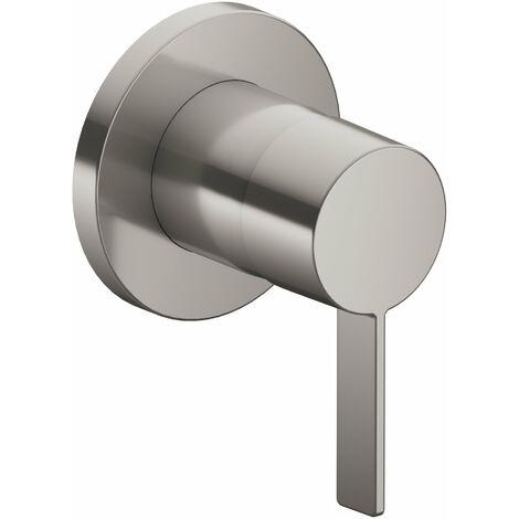 Accesorio Keuco IXMO 59551, juego completo de grifería monomando DN15, para montaje empotrado, roseta redonda, color: acabado en acero inoxidable / negro gris - 59551079501