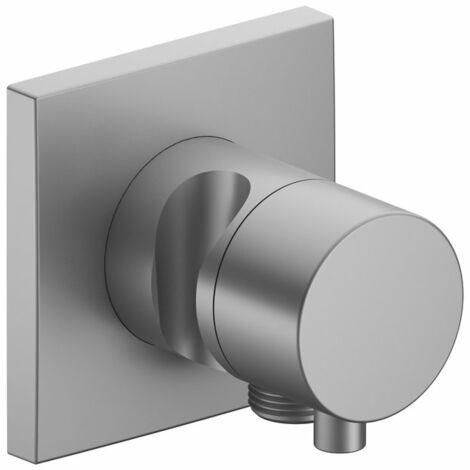 Accesorio Keuco IXMO 59557, válvula de cierre y conmutación de 2 vías con conexión de manguera y soporte para ducha, empotrable, maneta Comfort, color: níquel cepillado - 59557051202