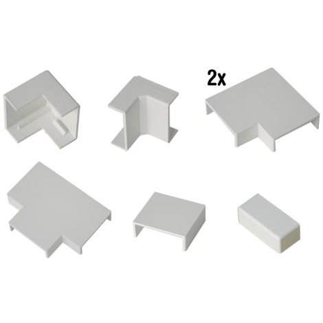 Accesorios canaleta 40x17mm (1 angulo exterior + 1 angulo interior + 2 angulos planos + 1 derivacion en T + 1 union + 1 tapa final)