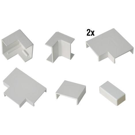 Accesorios canaleta 40x40mm (1 angulo exterior + 1 angulo interior + 2 angulos planos + 1 derivacion en T + 1 union + 1 tapa final)