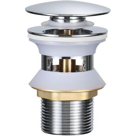Accesorios de Baño - Válvula de Desagüe Pop-Up Válvula Desagüe sin Rebosadero para Lavabo Baño, Cobre Cromado (Válvula Lavabo con Rebosadero)