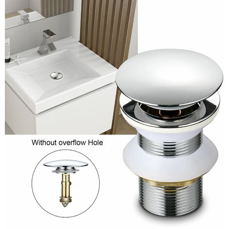 Accesorios de Baño - Válvula de Desagüe Pop-Up Válvula Desagüe sin Rebosadero para Lavabo Baño, Cobre Cromado (Válvula Lavabo sin Rebosadero)