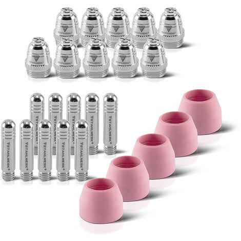 Accesorios de plasma STAHLWERK AG-60 piezas de desgaste boquillas de plasma + electrodos + tapas de cerámica para el quemador de corte de plasma AG-60 / SG-55 CUT, conjunto de 25 piezas