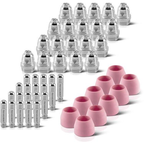 Accesorios de plasma STAHLWERK AG-60 piezas de desgaste boquillas de plasma + electrodos + tapas de cerámica para el quemador de corte de plasma AG-60 / SG-55 CUT, conjunto de 50 piezas