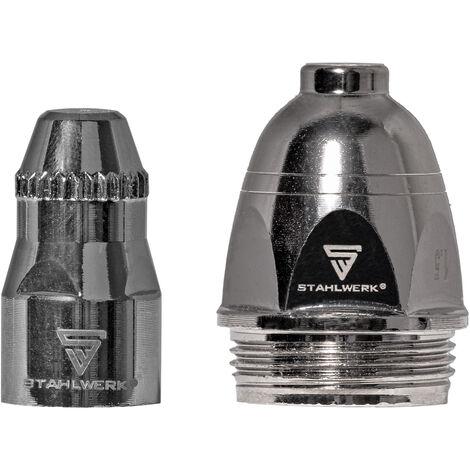 Accesorios de plasma STAHLWERK P-80 piezas de desgaste, boquillas de plasma + electrodos + tapas de cerámica para el quemador de corte de plasma P-80 CUT, conjunto de 25 piezas