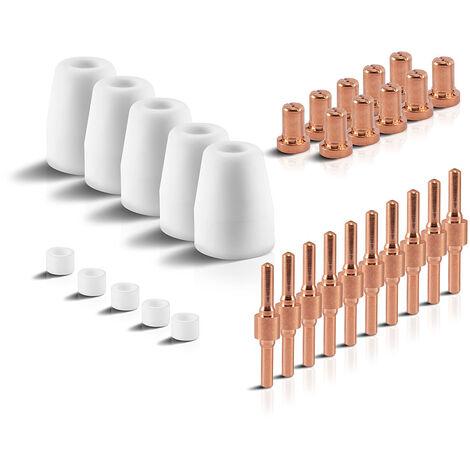 Accesorios de plasma STAHLWERK PT-31 piezas de desgaste boquillas de plasma + electrodos + tapas de cerámica para el quemador de corte de plasma PT-31 CUT, conjunto de 30 piezas