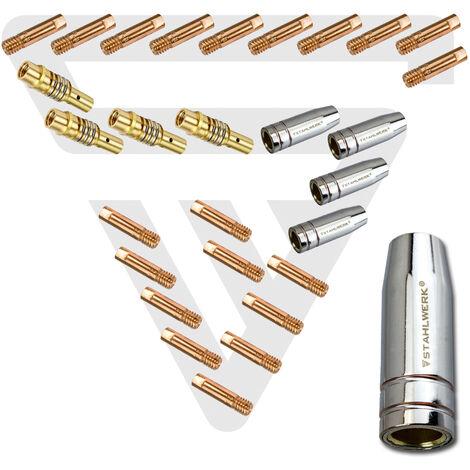 Accesorios de soldadura STAHLWERK MIG MAG AK-15/MB-15 Piezas de desgaste, boquillas de gas + portaboquillas + boquillas de corriente para quemadores de soldadura MIG MAG, conjunto de 28 piezas