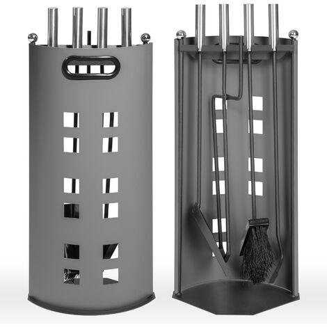 "main image of ""Accesorios para chimenea 4 piezas con soporte - juego de chimenea de acero inoxidable, útiles para chimenea con colgador, portaútiles con tenazas y atizador - gris"""