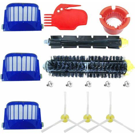 Accessoire pour iRobot Roomba Série 600 Kit d'entretien avec Brosses & Filtres pour 600 605 610 615 616 620 621 625 630 631 632 650 651 660 670 671 680 691 696 - Kit de 15 pièces
