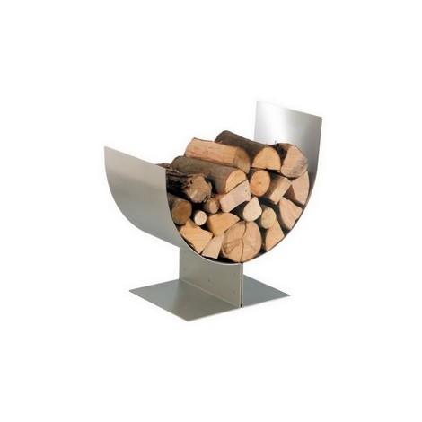 Accessoires cheminée porte buches inox