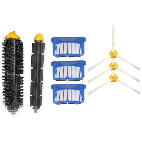Accessoires de balayeuse, brosse d'angle XR313 Roomba 3 * R302 + filtre 3 * R304 + R309 un jeu de brosses en caoutchouc serie 600