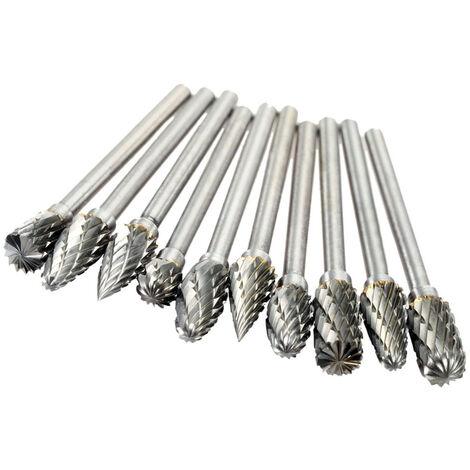 Accessoires de meulage electriques Aiguille de meulage en acier au tungstene Fichier rotatif en carbure 3 * 6mm10pcs