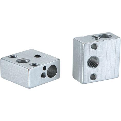 Accessoires d'imprimante 3D Aibecy bloc d'aluminium chauffant 20*20*10mm argent 2 pieces