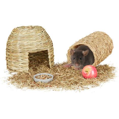 Accessoires pour petits animaux, 2 pièces en lot, maison d'herbe & tunnel, objet de cage, rongeur, nature