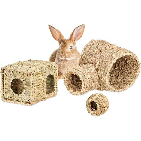 Accessoires pour petits animaux, 3 pièces, maison en herbe, tunnel en foin, balles nourriture, objets, nature