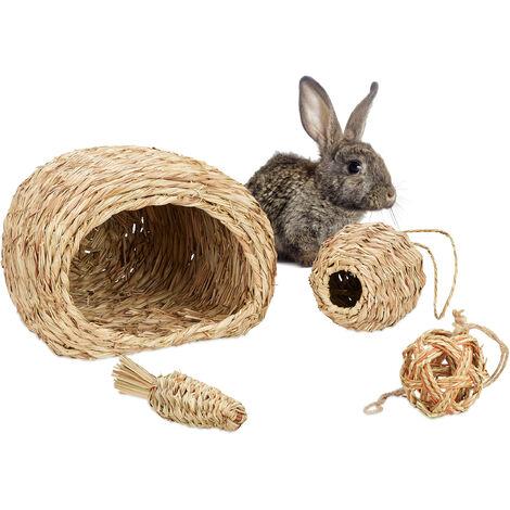 Accessoires pour petits animaux, Lot de 4, maison en herbe, 2 balles & carottes, objet, cochons d'Inde, nature