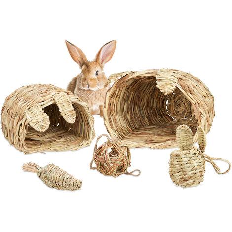 Accessoires pour petits animaux, Lot de 5, 2 maisons en herbe, 2 balles & carottes, objets de cage, nature