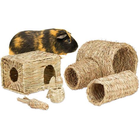 Accessoires pour petits animaux, lot de 5, paille, maison, tunnel, jouet, rongeurs, objets, nature