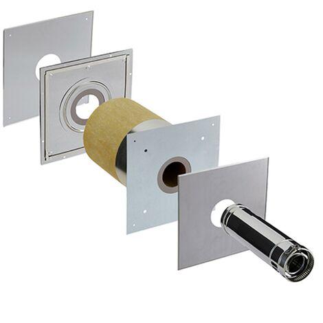 Accessoires règlementation thermique RT 2012 - PGI pour poêles à Pellets - Kit de traversée de mur - conduit extérieur