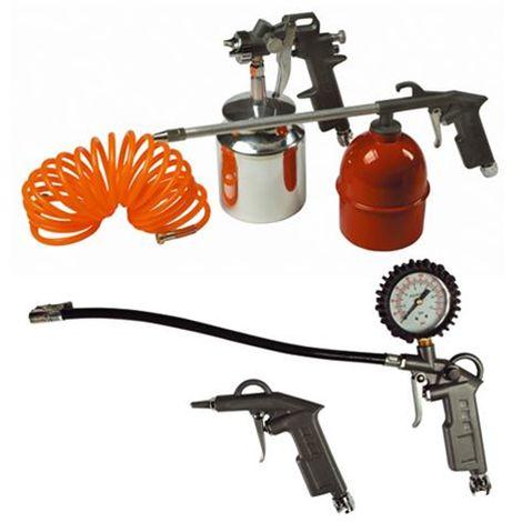 Accessori Aria Per Compressore Maurer Kit 5 Pezzi Pistola Gonfia Sgonfia Tubo Aerografo