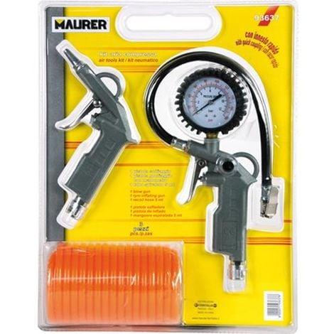 Accessori Per Aria Compressore Maurer Kit 3 Pezzi Tubo Manometro Pistola