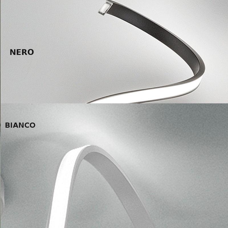 Sospensione senza base fb-tape 2133 sm 10w led 1000lm calata accessorio decentramento metallo bianco nero ultramoderna interno, finitura metallo nero