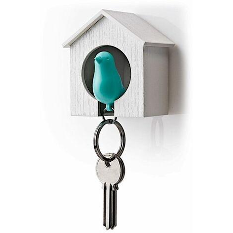 Accroche clés Cabane à oiseau - Blanc et bleu - Livraison gratuite