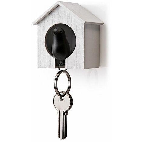 Accroche clés Cabane à oiseau - Blanc et noir - Livraison gratuite