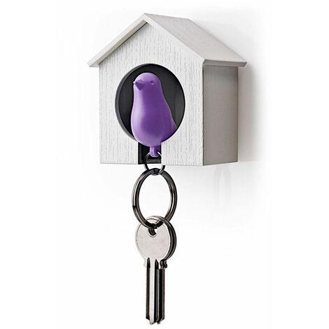 Accroche clés Cabane à oiseau - Blanc et violet - Livraison gratuite