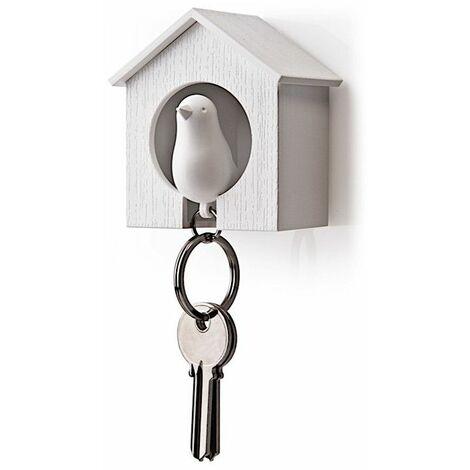 Accroche clés Cabane à oiseau - Blanc - Livraison gratuite