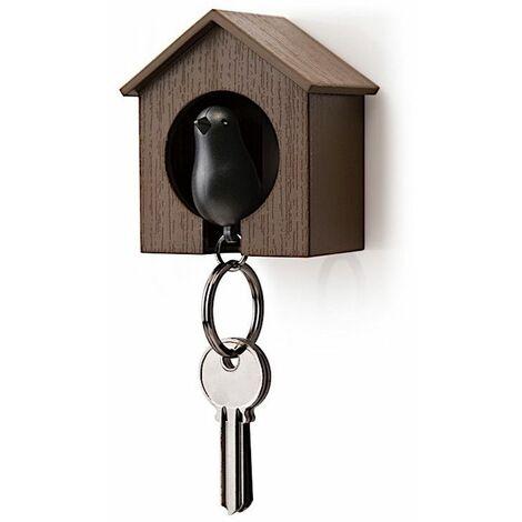Accroche clés Cabane à oiseau - Marron et noir - Livraison gratuite