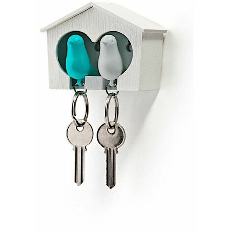 Accroche clés Cabane à oiseaux duo - Blanc et bleu - Livraison gratuite