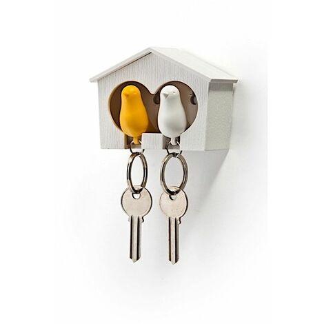 Accroche clés Cabane à oiseaux duo - Blanc et jaune - Livraison gratuite