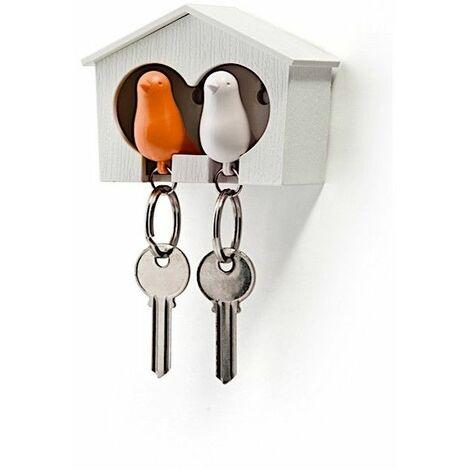 Accroche clés Cabane à oiseaux duo - Blanc et orange - Livraison gratuite